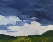 landscape painting original acrylic painting on wood panel, 20x20  contemporary art, wall art, clouds, blue and green