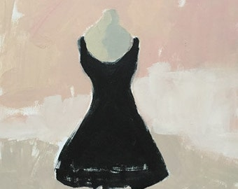 little black dress painting pink and black art original acrylic painting on wood panel wall art dress painting