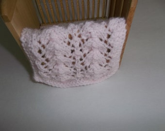 Pink Miniature Blanket Pale Pink Hand Knit Miniature  - Crib Blanket 1/12 Scale