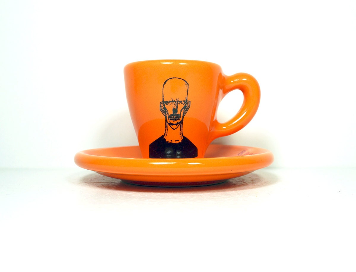 zombie number b. espresso cup w/saucer glazed in creamsicle orange. Made to Order / Pick Your Colour