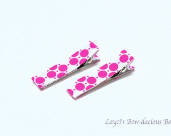 White and Hot Pink Hair Clips, no slip clips, baby girl clips, toddler clips