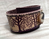 Leather Cuff Bracelet Wrap, Tree Silhouette Print in Brown & Olive Taupe, Adjustable Size