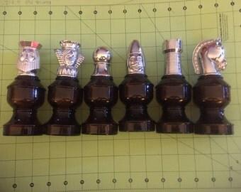Vintage 1970s Avon Lot of 6 Chess Shave Cologne Bottles
