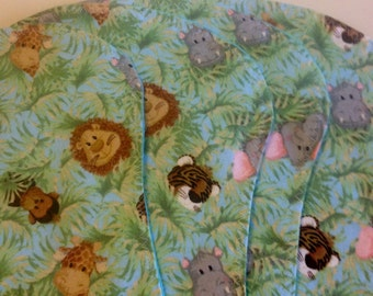 Set of 4 Jungle Animal Flannel Baby Burp Pads