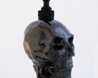 Skull Dispenser Black Metallic Finish for Liquid Soap Use on Bath Vanity Kitchen Counter