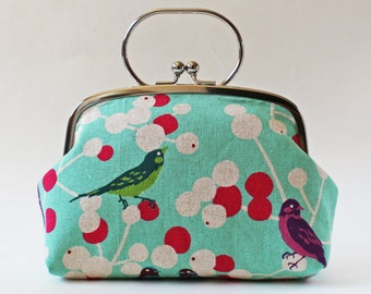 Kiss lock frame purse clutch purse with handle birds and flowers on aqua blue light turquoise bright pink clutch purse handbag makeup bag