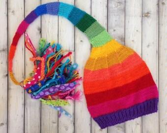 RAiNBoW Stocking Cap Knit Hat BaBY PHoTO PRoP Stripe Long Tail Tassel Beanie FUN Newborn Toddler Kid Adult CoLORFuL ToQUE Pride Gift LGBTQ