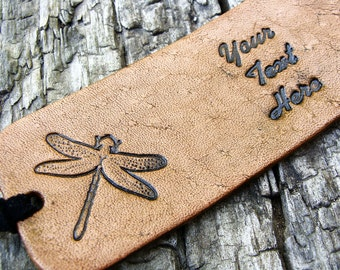 Personalized Luggage Tag Leather Dragonfly