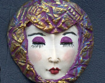 OOAK Polymer Clay One of a kind Detailed Asian  Face with Textured Hat ASCP 1