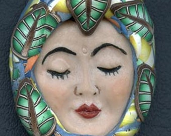 OOAK Polymer Clay Detailed Art Doll face with Faux Fabric Clay Hat FWL 1