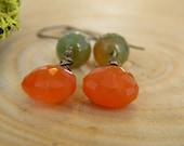 juicy carnelian  and dragon vein agate earrings