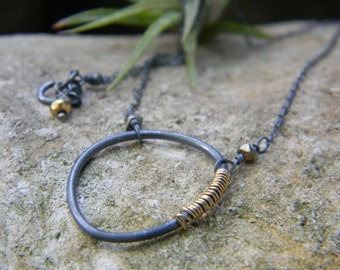 black and gold necklace - sterling silver and 14k gold filled