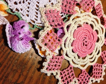 Vintage Crochet Doilies, Pansy Edged Doily, Pink & Ivory Geometric Shapes, Hand Made Crochet, Farmhouse, Rustic