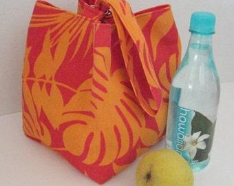Hawaiian Print Bento Bag, Lunch Bag, Wrist Bag