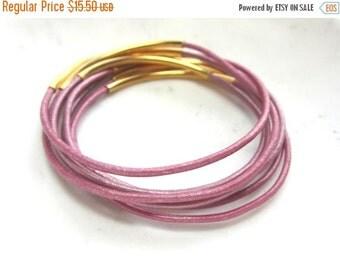 CIJ 35% OFF Metallic Pink Leather Bangles. Pink Bangle Set. Set of 8. Under 25. Pink Leather Bracelets.
