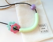 Floral, Chunky Necklace in Pastel Colours