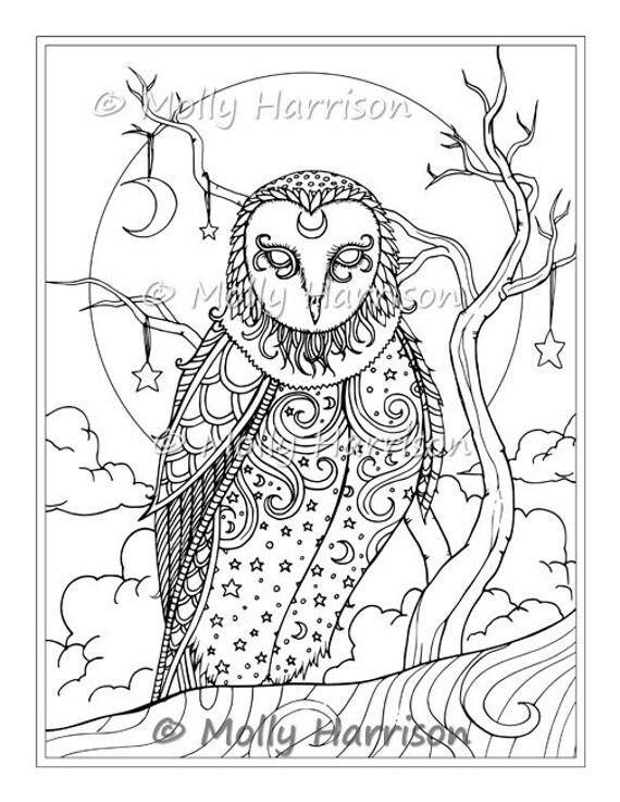 Celestial Owl - Digital Stamp - Printable - Moons Stars - Molly Harrison Fantasy Art - Digistamp Coloring Page - Digi Stamp