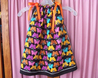 Rainbow Butterfly Print Toddler Dress or Girl's Tunic Top ONE SIZE Fits All from 18 months to girl's 10