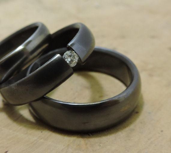 Titanium Rings, Wedding Ring Set, Moissanite Ring, Engagement Ring, Wedding Band Set, Tension Set Ring, His and Hers Rings, Unique Ring