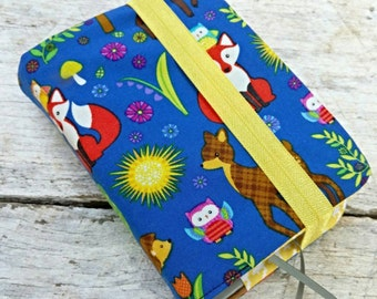 NWT reversible Bible cover, Cute woodland creatures blue background, pocket sized. Foxes, owls, deer, porcupines, trees, flowers.
