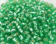 "Fall Clearance TOHO Glass Beads - 8/0 Beads - 2.5"" Tube - Silver Lined Dark Peridot"