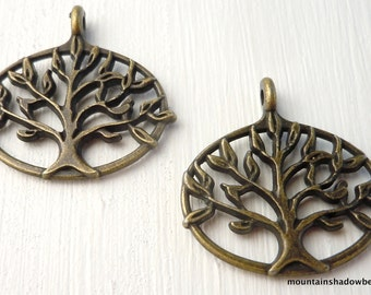 Tree of Life Charm - Lead Free Pewter - Antique Brass  27mm - 2 pack (G - 430)
