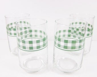 Vintage Green Gingham Glasses Set of 4 Retro Juice Glass Tumblers Plaid Picnic Spring Summer