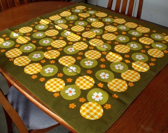 Vintage Square Tablecloth - Orange and White Flowers with checks on a rich olive background