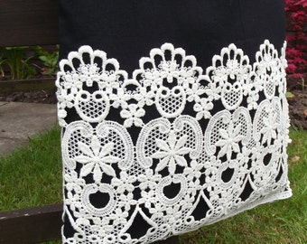 Vintage Lace covered Tote Bag - useful reusable shopping bag - Edwardia - black and cream