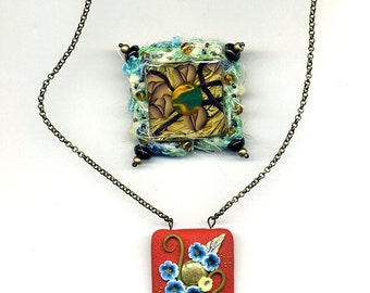 Clearance SALE - 1 brooch and 1 necklace