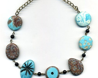 Polymer clay beads necklace