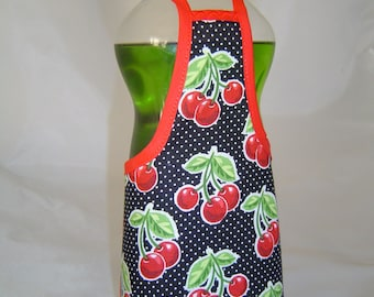 Red Cherry on Black Dish Soap Bottle Apron Cover Party Favor Staffer Lg