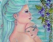 open edition aceo trading card mermaid mom and baby  2.5x3.5 inches by renee