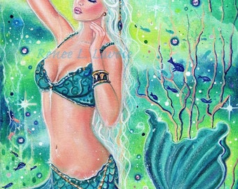 open edition aceo trading card print mermaid  Anastatia 2.5x3.5 inches by renee