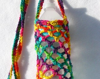 Rainbow Colors Crochet Water Bottle Carrier
