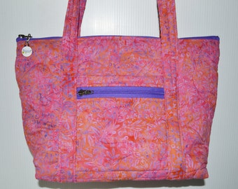 Quilted Fabric Bag Beautiful Batik Fabric Pink and Purple with touch of orange