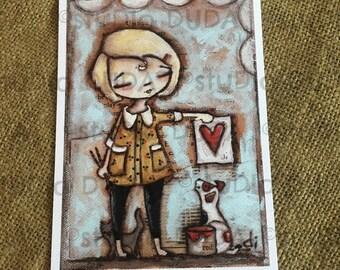 New!  STUDIO DUDA ART mini print/frameable greeting card on velvety bright paper -Work of Heart- 5x7 print