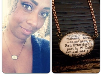 Vintage San Francisco Dictionary Cut-out Necklace/ Solid Brass Chain long - vintage style jewelry - SF Bay Area - San Francisco Gift for her