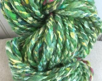 Yarn Handspun -FAIRY FESTIVAL - knitting supplies, crochet, weaving, craft supplies, baby  prop yarn waldorf doll hair  70yds.