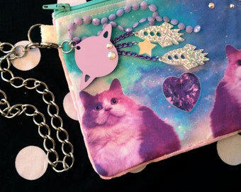 Galaxy Purple Kitty Cats Wristlet Pouch with Zipper