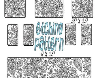 Digital Pattern for Etching Floral Cuff Bracelet Download 1891-cuff