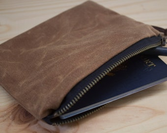 WAXED CANVAS - Zippered Pouch, Wallet, Cosmetic Bag - Padded and Weather Resistant - Blush Brown
