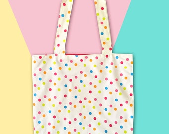 Cute handmade tote bag, shoulder bag, multicolor dots, colorful book bag