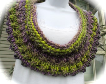 Hand knit short cowl in shades of green and purple with gold flecks, infinity scarf, knit circle, fashion cowl, winter cowl