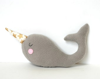 Plush Narwhal - Unicorn of the Sea - Narwhal Softie for Baby, Kids, Adults