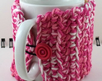 Crocheted Coffee or Ice Cream Cozy in Hot Pink, Light Pink, and White Cotton with Hot Pink Button (SWG-I04)