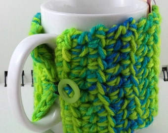 Crocheted Coffee or Ice Cream Cozy in Lime Green, Blue, and Yellow with Lime Green Button (SWG-I21)