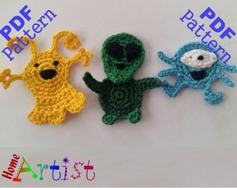 Aliens crochet Applique Pattern