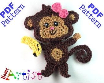 Monkey Pattern Crochet Applique Pattern