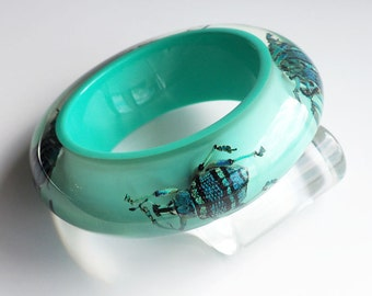 Beautiful soft blue bracelet with real insects